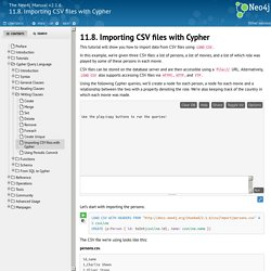 11.8. Importing CSV files with Cypher - - The Neo4j Manual v2.1.6