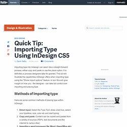 Importing Type Using InDesign CS5