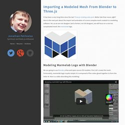 Importing a Modeled Mesh From Blender to Three.js - Jonathan Petitcolas