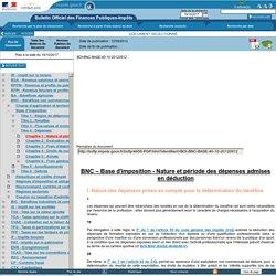 BNC – Base d'imposition - Nature et période des dépenses admises en déduction