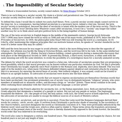 The Impossibility of Secular Society by Rémi Brague