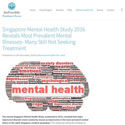 Singapore Mental Health Study 2016 reveals most prevalent mental illnesses- many still not seeking treatment - ImPossible Psychological Services