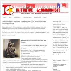 Les imposteurs : Soral, FN, Dieudonné &Cie le fascisme avance toujours masqué