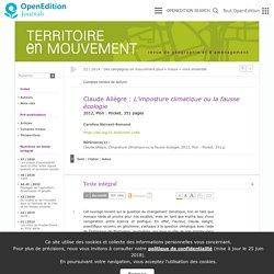Claude Allègre : L'imposture climatique ou la fausse écologie