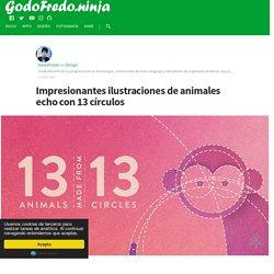 Impresionantes ilustraciones de animales echo con 13 círculos