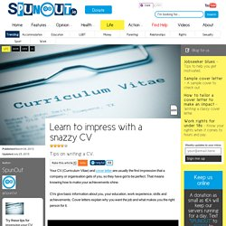 Learn to impress with a snazzy CV - Life - SpunOut.ie - Ireland's Youth Website