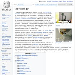 Article Wikipedia : Impression 3D