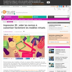 Impression 3D : aider les novices à customiser facilement les modèles virtuels