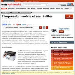 L'impression mobile et ses réalités - L'impression mobile : une nouvelle réalité