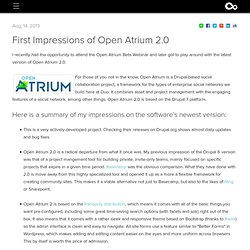 Open Atrium 2.0 Drupal Social Platform - First Impressions
