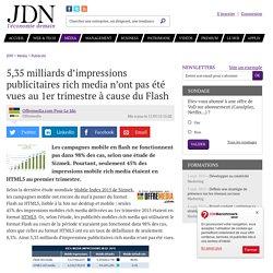 5,35 milliards d'impressions publicitaires rich media n'ont pas été vues au 1er trimestre à cause du Flash