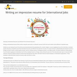 Writing an impressive resume for International Jobs