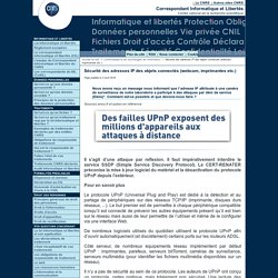 Sécurité des adresses IP des objets connectés (webcam, imprimantes etc.) - Fil d'actualité du Service Informatique et libertés du CNRS