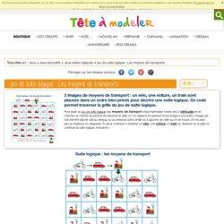 jeu pour enfant à imprimer : suite logique sur les moyens de transport