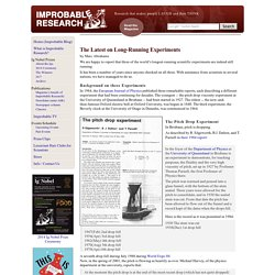 Improbable Research - Longest Running Experiments