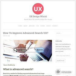 How To Improve Advanced Search UX?