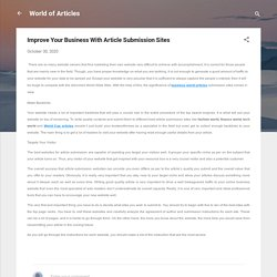 Improve Your Business With Article Submission Sites