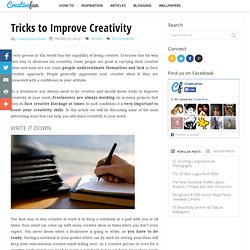 Tricks to Improve Creativity