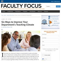 Six Ways to Improve Your Department's Teaching Climate