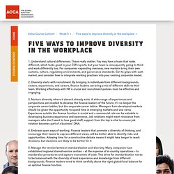 Five ways to improve diversity in the workplace