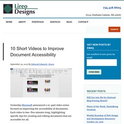 10 Short Videos to Improve Document Accessibility