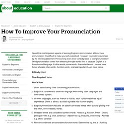 Improve Your Pronunciation