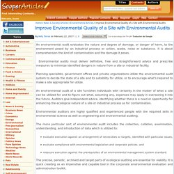 Improve Environmental Quality of a Site with Environmental Audits