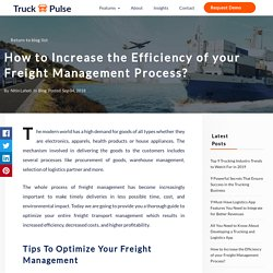 Tips to Improve your Freight Management Process