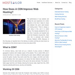 How Does A CDN Improve Web Hosting? - HostSailor Services