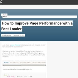 How to Improve Page Performance with a Font Loader