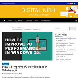 How to Improve PC Performance in Windows 10 [Speed Up Windows 10]