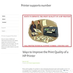 Ways to Improve the Print Quality of a HP Printer – Printer supports number