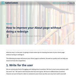 How to improve your About page without doing a redesign – GatherContent Blog