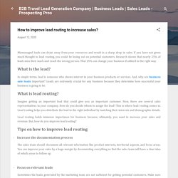 How to improve lead routing to increase sales?