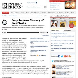 Scientific American: Naps Improve Memory of New Tasks
