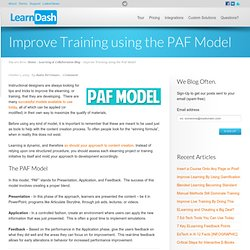 Improve Training using the PAF Model