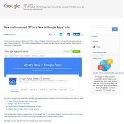 "New and improved ""What's New in Google Apps"" site"