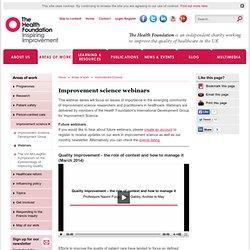 Improvement science webinars