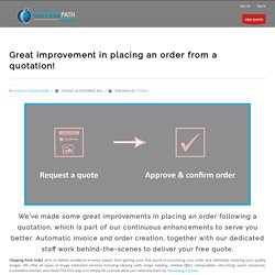 Great improvement in placing an order from a quotation! - Clipping Path India