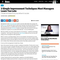 3 Simple Improvement Techniques Most Managers Learn Too Late