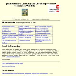John Ramsay's Learning and Grade Improvement Techniques Web Site