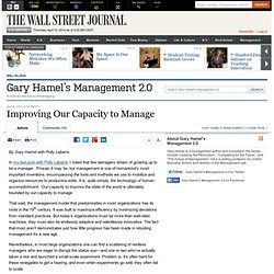 Improving Our Capacity to Manage - Gary Hamel's Management 2.0
