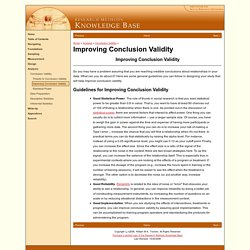 Improving Conclusion Validity