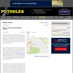 Potholes.co.uk - Read stories - Tips on Improving Dissertation Writing