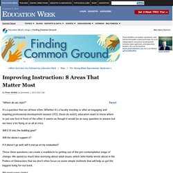 Improving Instruction: 8 Areas That Matter Most
