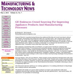 GE Embraces Crowd Sourcing For Improving Appliance Products And Manufacturing Processes