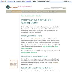 Improving your motivation for learning English