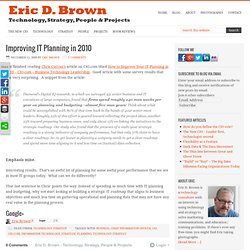 Improving IT planning in 2010 - A hint for CIO's and IT Leaders