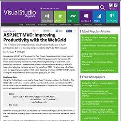 ASP.NET MVC Improving Productivity with the WebGrid