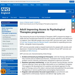 Mental health » Adult Improving Access to Psychological Therapies programme